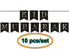iHcrafts Eid Decorations Wall Hanging Eid Mubarak Banner Card Pennant Bunting 2M Eid Décor for Home Office Business Restaurants Muslim Neighbors 10pcs/Set
