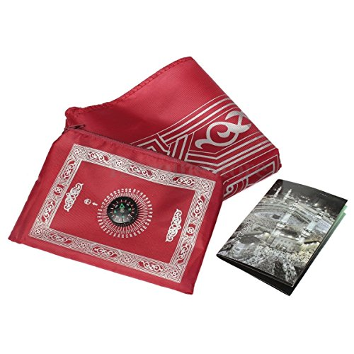 1pc Muslim Travel Prayer Rug with Pouch Islamic Portable Pocket Mat (Red)