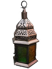 Moroccan Style Candle-Lantern Battery Operated LED Light Black Temple Lantern Egyptian Ramadan Light Vintage Style Candle Lantern Decor Moroccan Style-Candle Lantern Decorative Indoor with Free LED Buld