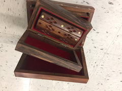 "Girls 3-in-1 Jewelry Box Single Compartment Solid Wooden Floral Designs Secret Lock w/ Box inside a Box inside a Box 9""x6""x3"""