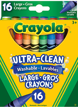 16 Large Ultra-Clean Washable Crayons|16 gros crayons de cire lavables Ultra-Clean