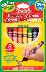 8 Washable Triangular Crayons|8 crayons de cire triangulaires lavables