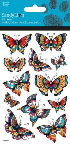 Hipster Butterflies stickers with glitter|Autocollants papillons avec brillants