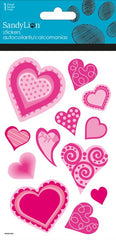 Hearts with Glitters stickers|Autocollants coeurs roses avec brillants