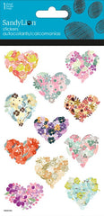 Flower Hearts stickers with glitter|Autocollants coeurs en fleurs avec brillants