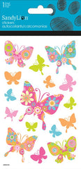 Colorful Butterflies stickers with glitter|Autocollants papillons colorés avec brillants