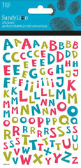 Alphabet stickers - cartoon font|Autocollants alphabet - bleu, vert, rose