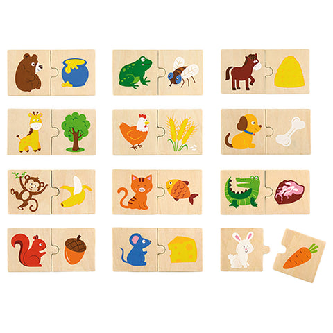 Animal Feeding Puzzle Set|Casse-tête en bois animaux et aliments