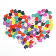 Dotted heart buttons|Boutons coeurs à pois