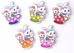 Bunny in a cup Buttons|Boutons lapins dans une tasse