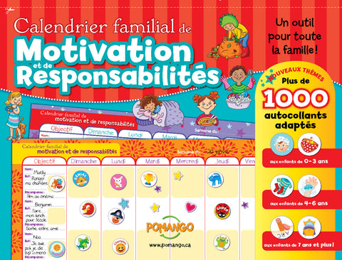 Responsability and reward chart (french only)|Calendrier familial de motivation et de responsabilités