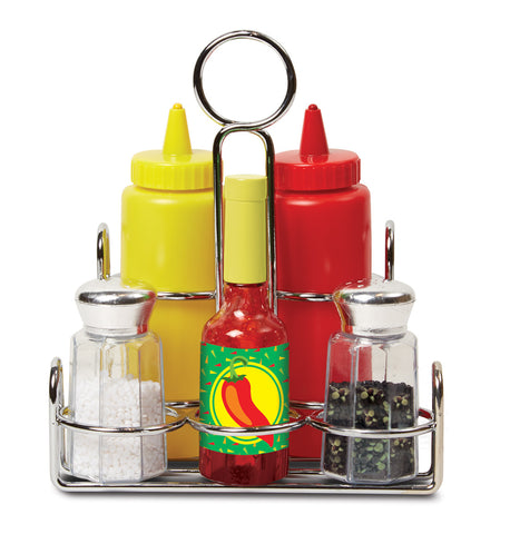 Condiment set|Ensemble de condiments avec suppport