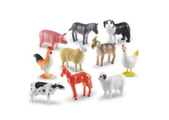 Set of 10 Realistic Farm Animal Counters|Ensemble de 10 animaux de la ferme réalistes à trier et compter