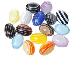 Oval striped beads 12 mm X 9 mm|Perles ovales lignées 12 mm X 9 mm