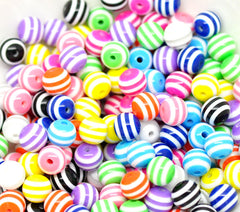 Round striped beads 10 mm|Perles rondes lignées 10 mm