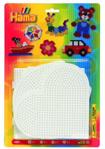 Large Pegboards for Hama Beads - Square, heart, round, hexagonal|Larges plaques pour perles Hama - Carré, coeur, cercle, hexagone