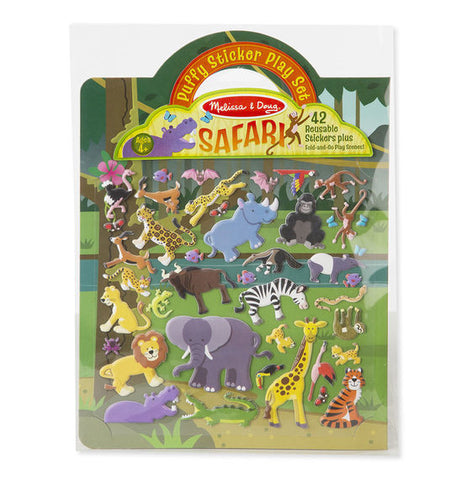 Reusable puffy stickers - safari|Autocollants en relief repositionnables - safari