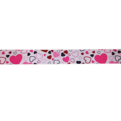 Heart on white background ribbon|Ruban coeurs sur fond blanc
