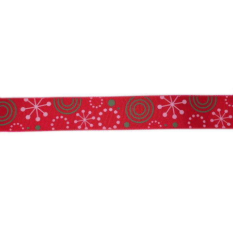 Red ribbon with patterns|Ruban rouge avec motifs