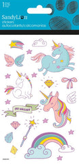 Colorful Unicorns stickers with glitter|Autocollants licornes avec brillants