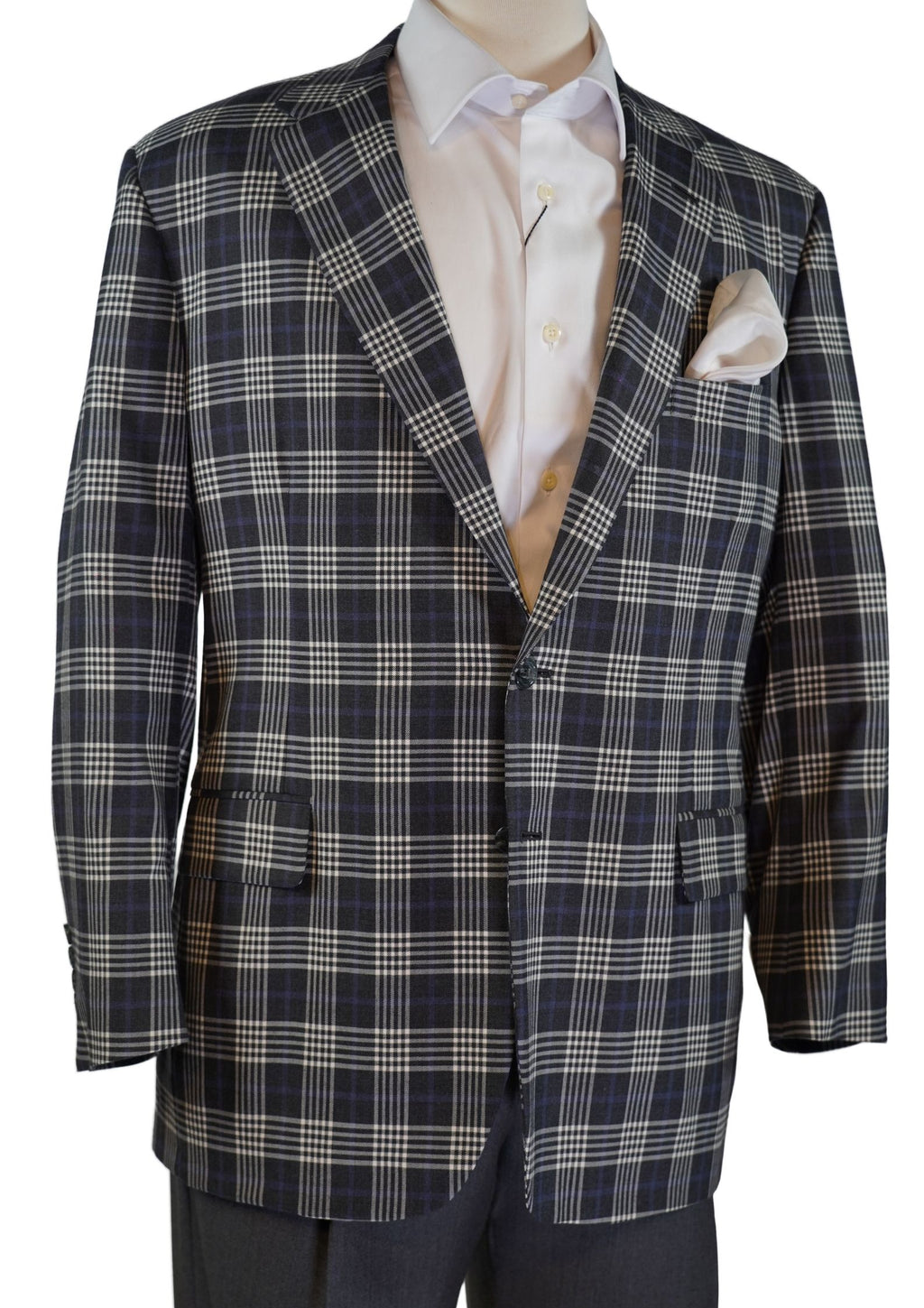 CHARCOAL GREY PLAID WOOL SPORT COAT