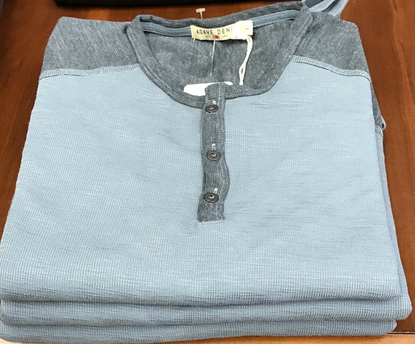 Long Sleeve Two-toned Blue button Henley shirt By Agave Denim