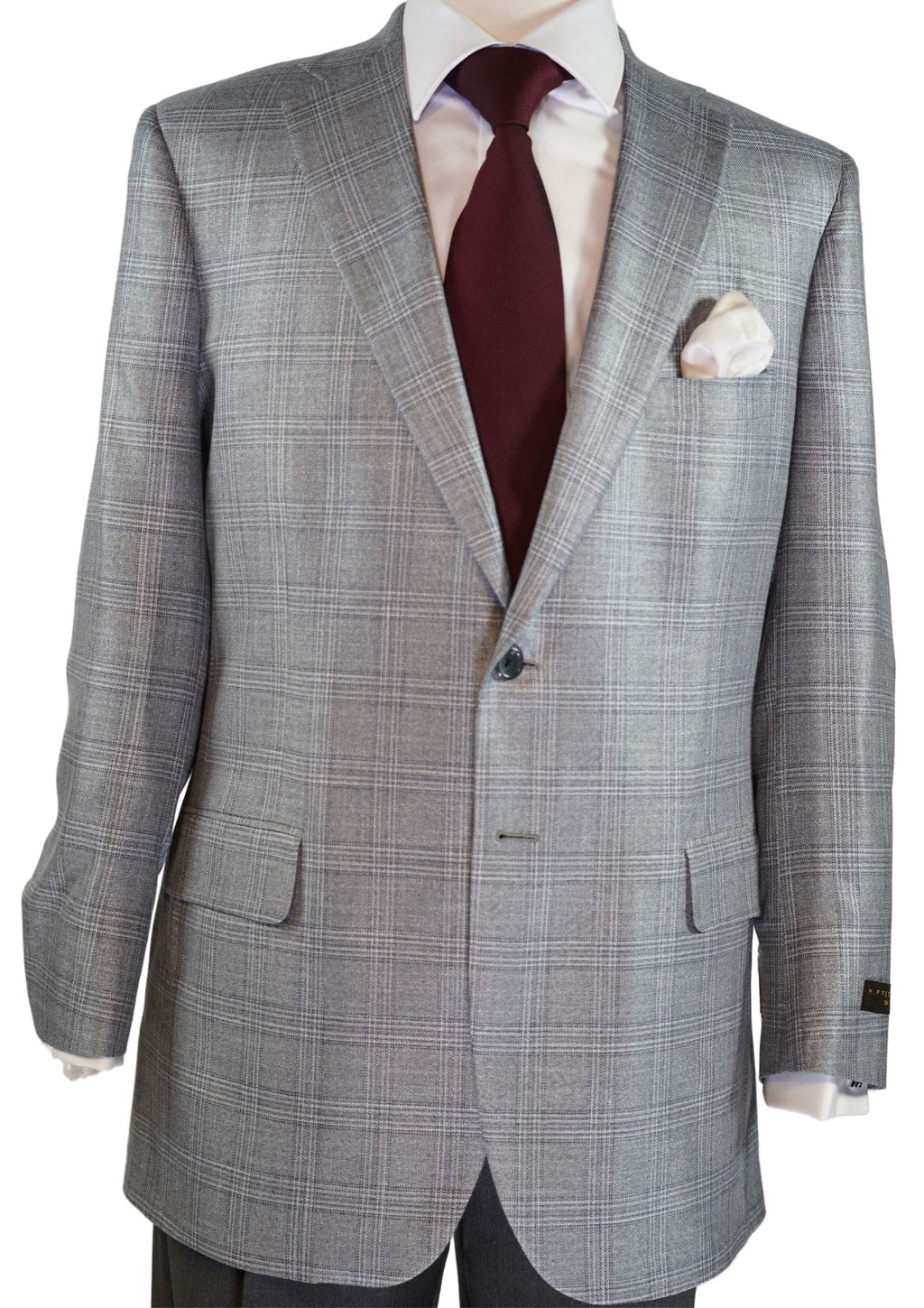 SILVER AND BLACK FANCY PLAID SPORT COAT
