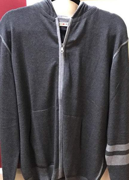 Agave Dark Gray Zip Jacket with Light Gray Stripes