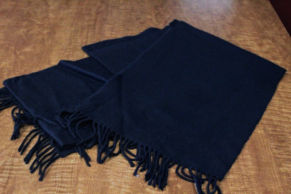 Black Cashmere Wool Scarf