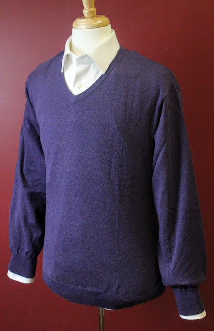 Purple Long Sleeve V Neck Sweater