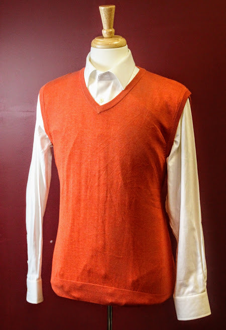 Orange V-Neck Sweater Vest