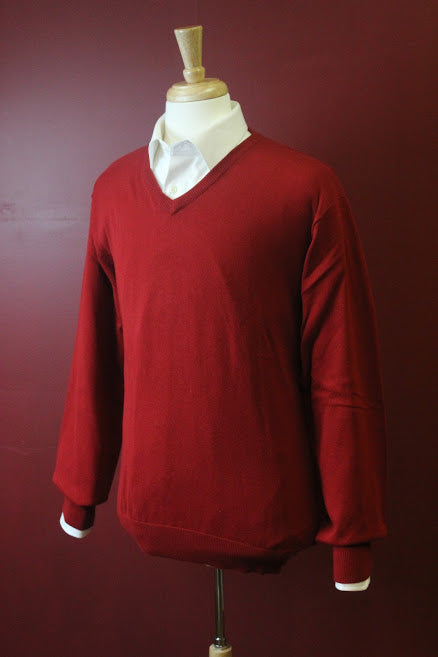 Red Long Sleeve V Neck Sweater