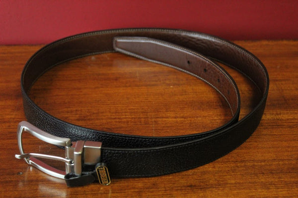 Torino Textured Leather Belt (Black and Brown Reversible)
