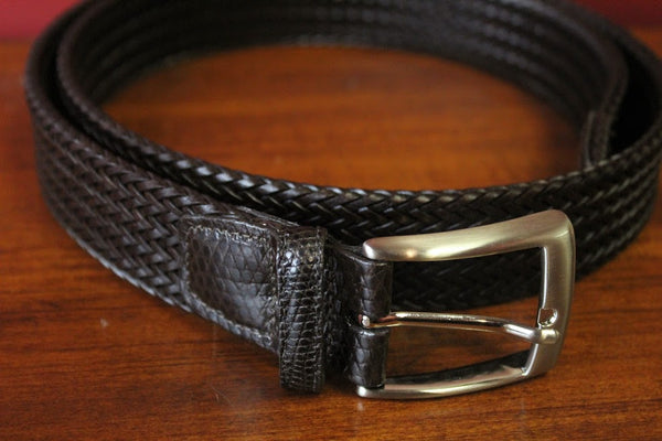 Brown Weave Torino Leather Belt