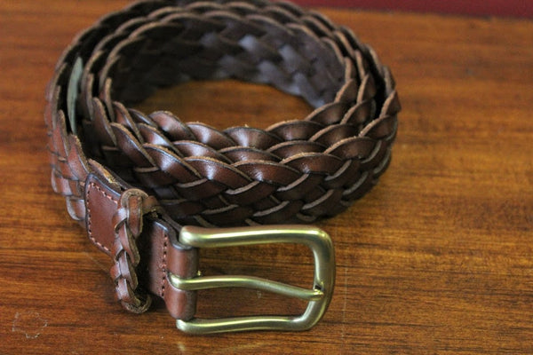 Torino Brown Woven Leather Belt