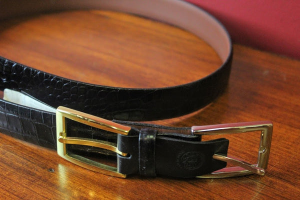 Interchangeable Buckle Faux Alligator Skin Belt