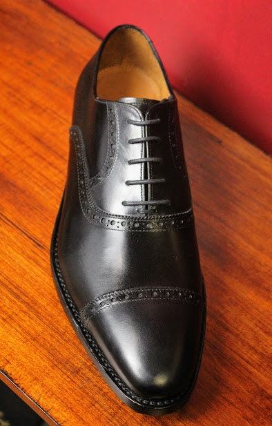 Black Cap Toe Perforated Armin Oehler Shoes