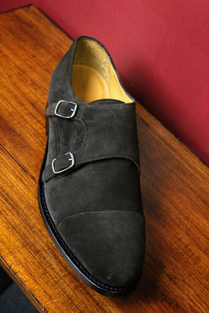Dark Brown Suede Double Monk Strap Armin Oehler Shoe