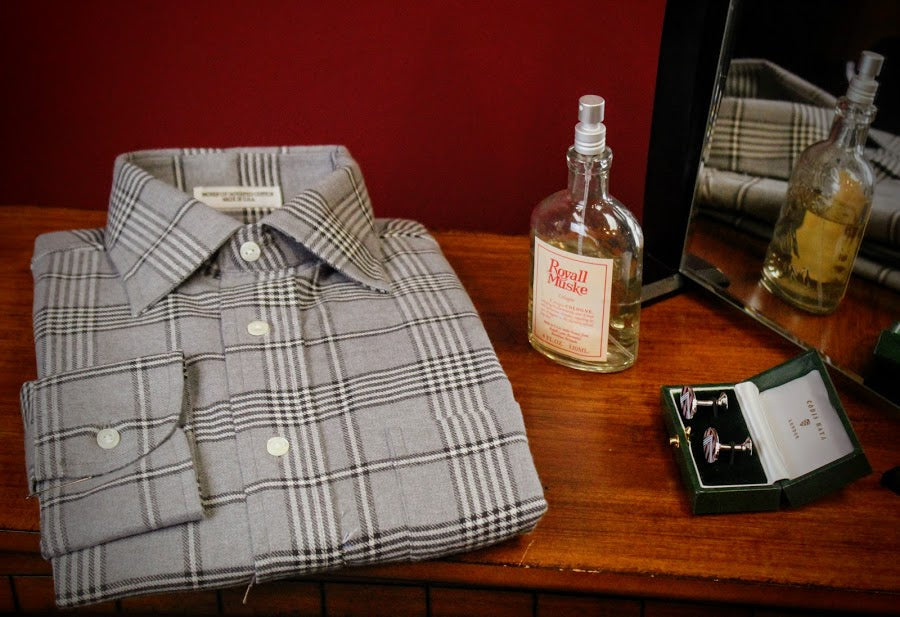 Grey Plaid Button-Up Shirt