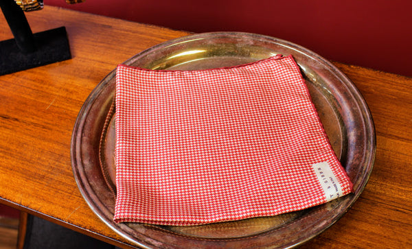 Red and White Hound's Tooth Pocket Square