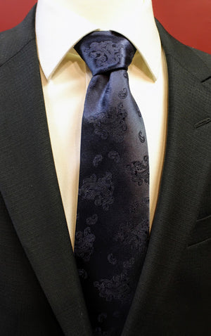 Black Paisley Carrot and Gibbs Tie