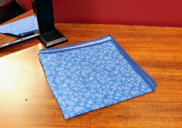 Blue Floral Carrot and Gibbs Pocket Square