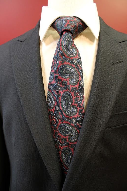 Atkinson Red and Emerald Paisley Tie