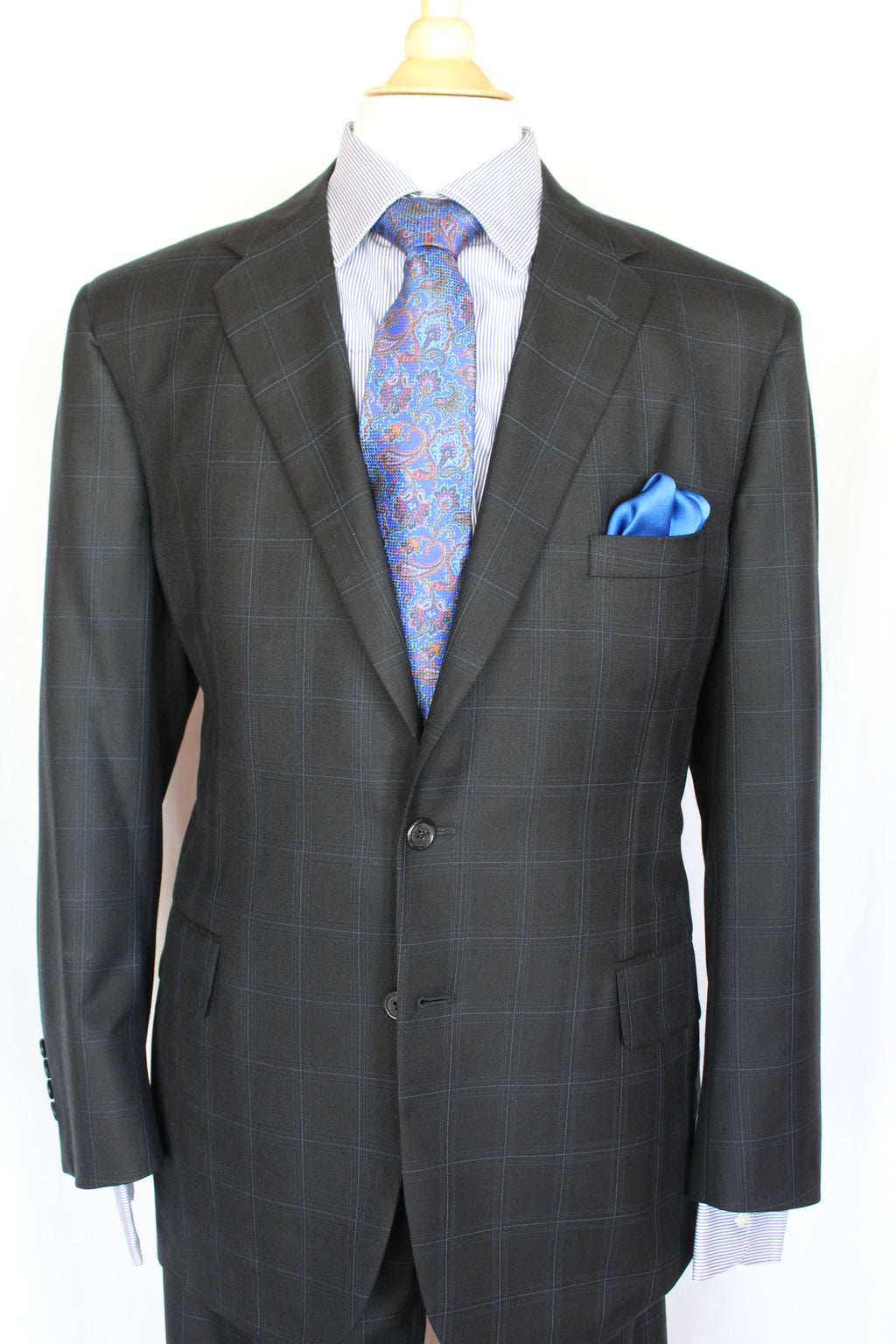 A. Smith Clothiers Black Suit with Blue Accent Stripes