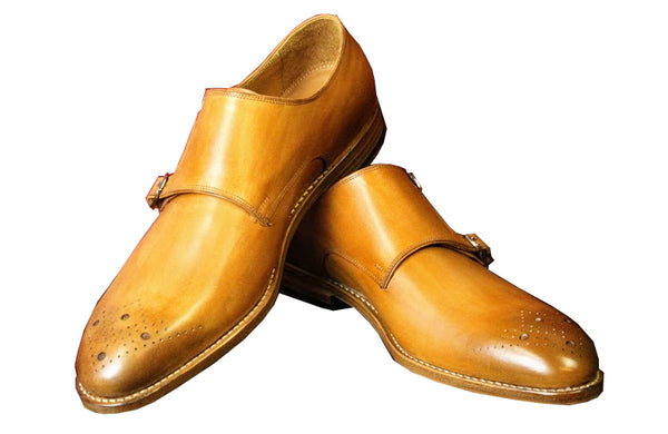 Cognac Double Monk Strap Armin Oehler Shoes