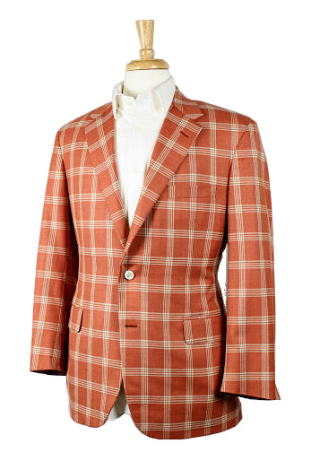 Brick Red Plaid Sport Coat