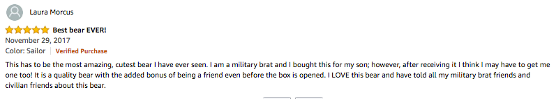 Military teddy bear testimonial