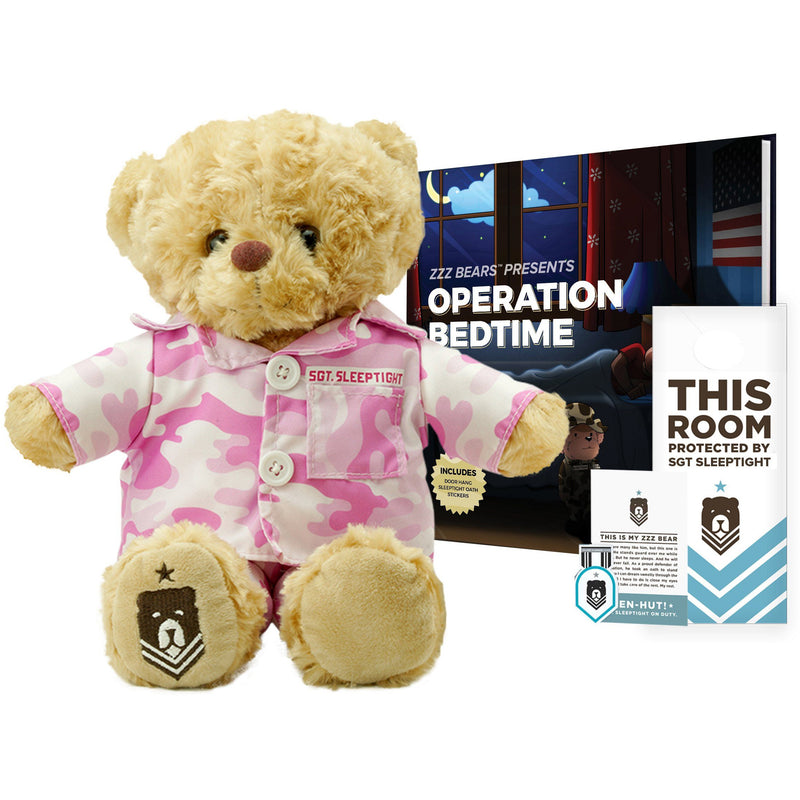 Teddy Bear - Sgt. Sleeptight - Pink Camouflage PJs & Sleep System