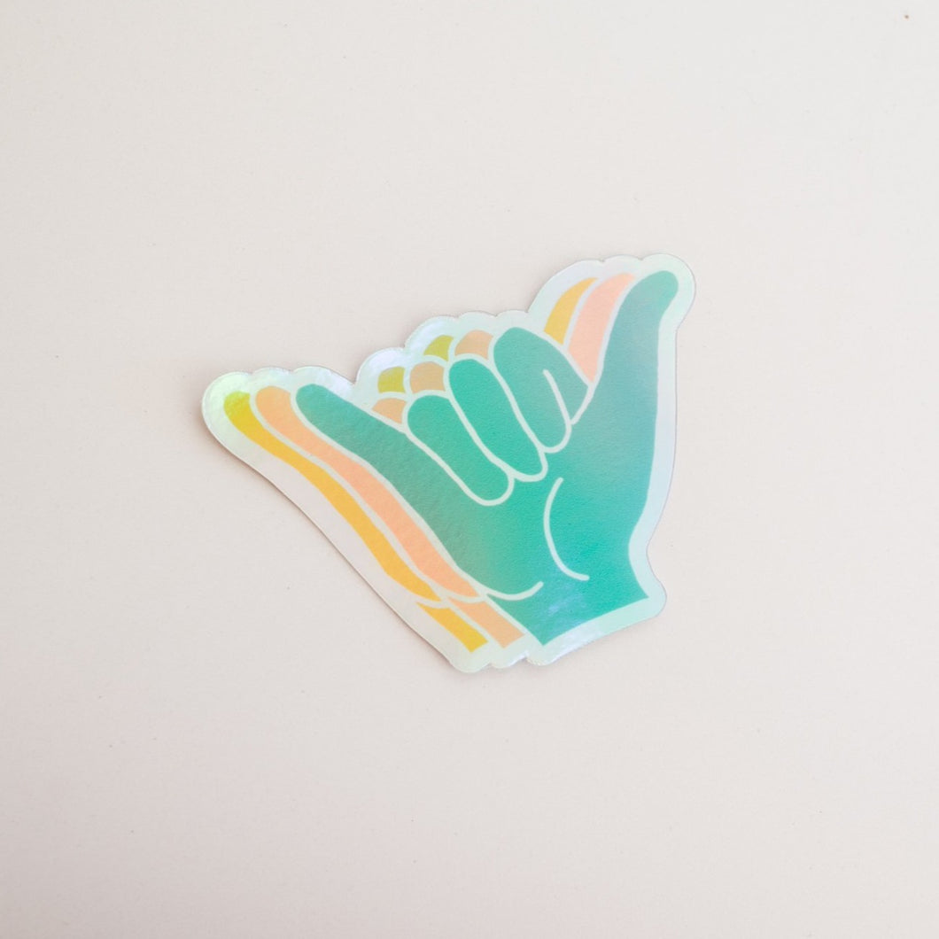 Holographic Shaka Rainbow Sticker