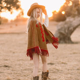 PREORDER Babe Suede Cape - Carmel & Red - Western & Co.